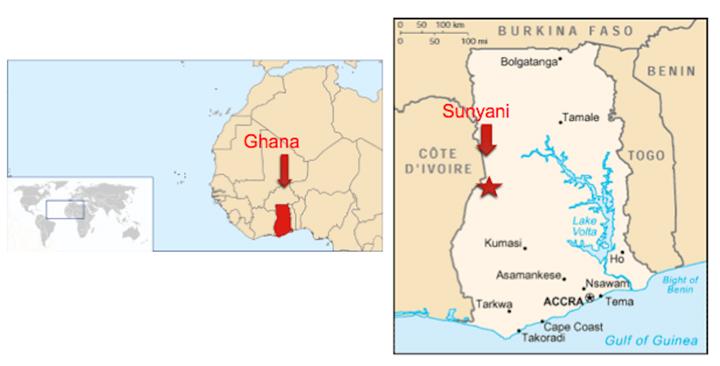 ガーナ スンヤニの地図