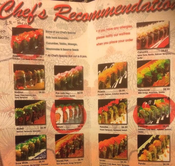 働いていたお寿司屋のメニュー